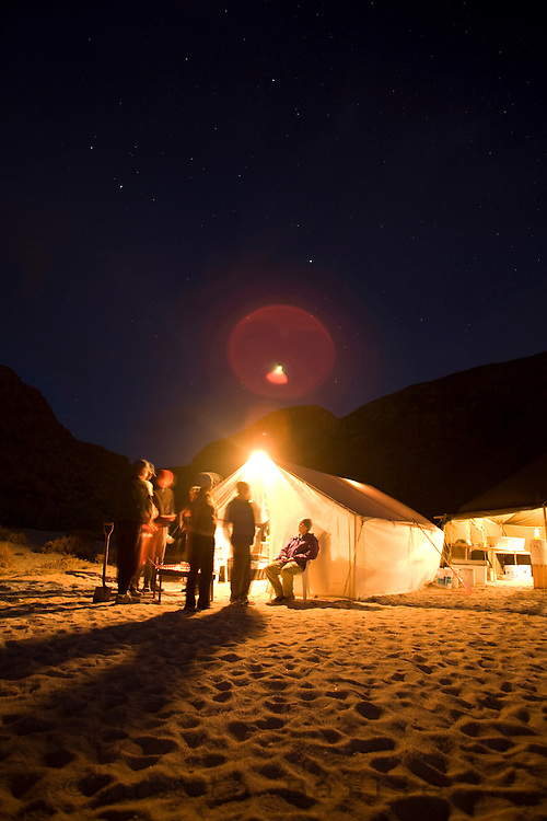 Group of people at camp on the Sea of Cortez, Mexico