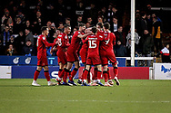 Walsall players celebrating their goal during the EFL Sky Bet League 1 match between Peterborough United and Walsall at London Road, Peterborough, England on 22 December 2018.