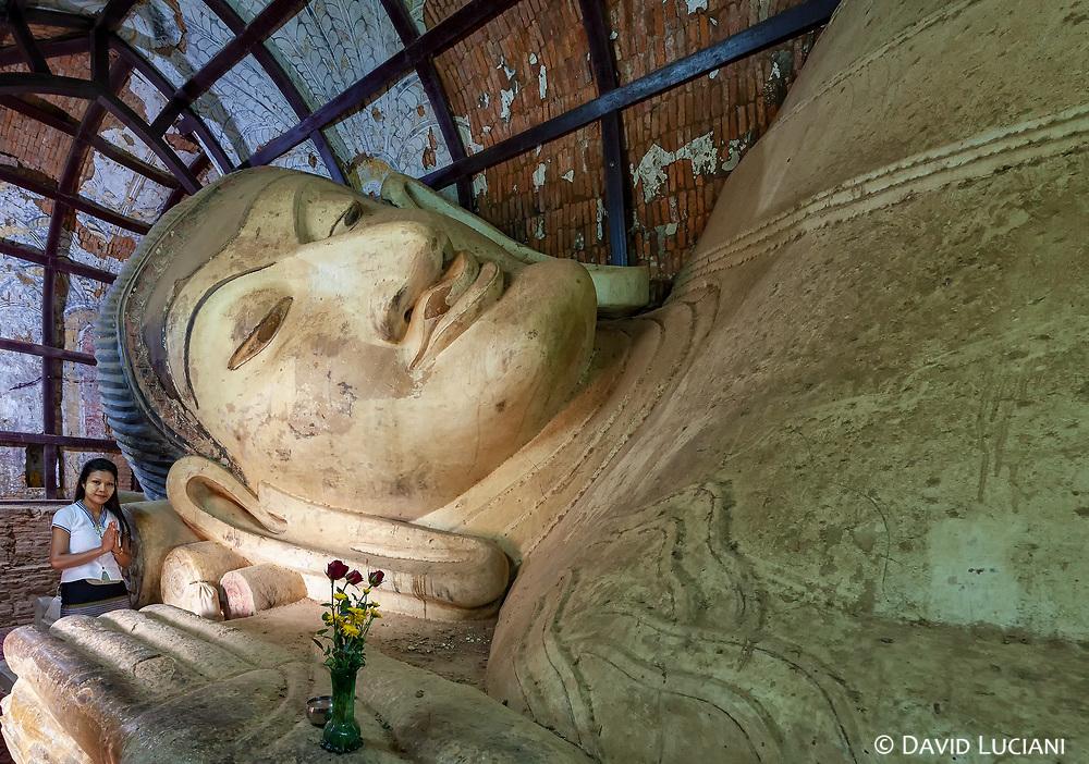 Reclining Manuha Buddha at Shinbinthalyaung Temple in Bagan.
