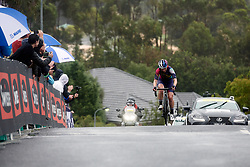 Alexis Ryan (USA) approaches the top of the final categorised climb during the 2020 Cadel Evans Great Ocean Road Race - Deakin University Women's Race, a 121 km road race in Geelong, Australia on February 1, 2020. Photo by Sean Robinson/velofocus.com