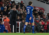 Football - 2017 / 2018 Carabao (EFL/League) Cup - Semi-Final, Second Leg: Arsenal (0) vs. Chelsea (0)<br /> <br /> Antonio Conte, Manager of Chelsea FC, tries to get his message to Marcos Alonso (Chelsea FC)  after he gives away possession at The Emirates.<br /> <br /> COLORSPORT/DANIEL BEARHAM