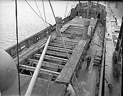 "The ""City of Waterford"" sails from Dublin with a cargo of horses for export. Men prepare the top of the deck for departure on the 17th January 1960."
