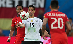 July 2, 2017 - Saint Petersburg, Russia - Jean Beausejour (L) of the Chile national football team and Lars Stindl of the Germanyl national football team vie for the ball during the 2017 FIFA Confederations Cup final match between Chile and Germany at Saint Petersburg Stadium on July 02, 2017 in St. Petersburg, Russia. (Credit Image: © Igor Russak/NurPhoto via ZUMA Press)