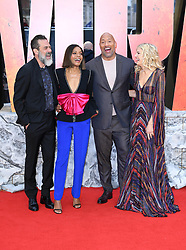 Jefrey Dean Morgan (left), Naomie Harris (second left), Dwayne Johnson, and Malin Akerman (right) attending the European premiere of Rampage, held at the Cineworld in Leicester Square, London. Photo credit should read: Doug Peters/EMPICS Entertainment
