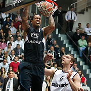 Besiktas's  Fedor LIKHOLITOV (R) and Efes Pilsen's Lawrence ROBERTS (L) during their Turkish Basketball league derby match Besiktas between Efes Pilsen at the BJK Akatlar Arena in Istanbul Turkey on Saturday 30 April 2011. Photo by TURKPIX