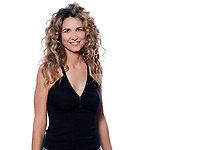 beautiful caucasian woman smiling portrait isolated studio on white background