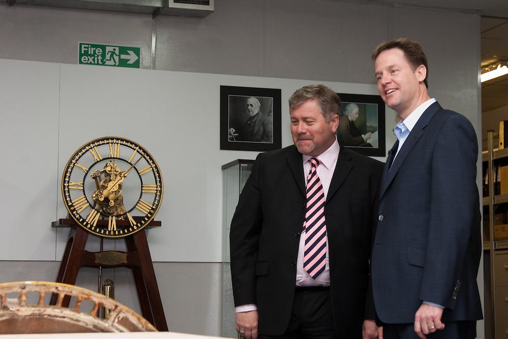 Nick Clegg, liberal democrat leader visits Smith of Derby