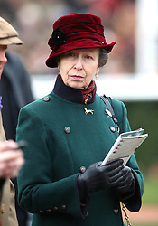 The Princess Royal during Ladies Day of the 2019 Cheltenham Festival at Cheltenham Racecourse.