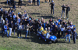 Team Europe's Rory McIlroy is driven to the 10th tee to start practice during preview day four of the Ryder Cup at Le Golf National, Saint-Quentin-en-Yvelines, Paris. PRESS ASSOCIATION Photo. Picture date: Thursday September 27, 2018. See PA story GOLF Ryder. Photo credit should read: Gareth Fuller/PA Wire. RESTRICTIONS: Editorial use only. No commercial use.