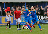 Football - 2021 / 2022 Emirates FA Cup - First Round Qualifying - Bootle vs. FC United of Manchester - Berry Street Garage Stadium - Saturday 4th September 2021<br /> <br /> Jordan Wynne of Bootle runs away to celebrate after he levelled the scores at 2-2 in the 90th minute to force a replay, at the Berry Street Garage Stadium.<br /> <br /> COLORSPORT/Alan Martin