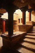 GREECE, CRETE, MINOAN CULTURE Knossos: the Royal Palace with the great stairway and the Hall of Colonnades, built in approximately 1600 B.C.