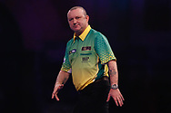 Darren Webster looking frustrated during the Darts World Championship 2018 at Alexandra Palace, London, United Kingdom on 18 December 2018.
