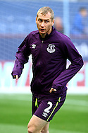 Everton's Tony Hibbert warming up prior to kick off. Barclays Premier league match, Burnley v Everton at Turf Moor in Burnley, Lancs on Sunday 26th October 2014.<br /> pic by Chris Stading, Andrew Orchard sports photography.