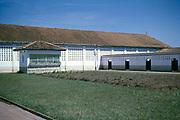Captioned as 'Cow sheds and testing lab' farm buildings,  Fazenda Sant' Anna, Campinas, Brazil, South America 1962