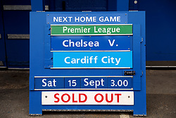 A board displaying the match being sold out outside the ground