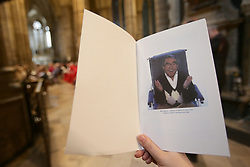 The Order of Service during the Service of Thanksgiving for the Life and Work of the Ronnie Corbett at Westminster Abbey, London, who died last year at.