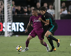 July 26, 2017 - Los Angeles, California, U.S - Jesús Vallejo #3 of Real Madrid battles for the ball with Gabriel Jesus #33 of Manchester City during their International Champions Cup game at the Los Angeles memorial Coliseum in Los Angeles, California on Wednesday July 26, 2017. Manchester City defeats Real Madrid, 4-1. (Credit Image: © Prensa Internacional via ZUMA Wire)