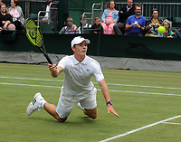 Lawn Tennis - 2021 All England Championships - Week Two - Wednesday - Wimbledon<br /> Boys event - Oliver Tarvet v Viacheslav Bielinskyi<br /> <br /> Oliver Tarvet  of GBR slips on the grass<br /> <br /> <br /> Credit : COLORSPORT/Andrew Cowie