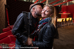 Tina Jeppsson and Custom bike builder Johnny Martinsson (winner of the Norrtälje custom bike show) at the Intermot Motorcycle Trade Fair. Cologne, Germany. Wednesday October 5, 2016. Photography ©2016 Michael Lichter.