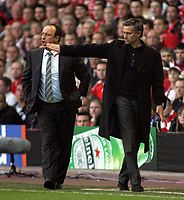 Photo: Paul Thomas.<br /> Liverpool v Chelsea. UEFA Champions League. Semi Final, 2nd Leg. 01/05/2007.<br /> <br /> Managers Rafael Benitez (Liverpool) and Jose Mourinho (R) of Chelsea.