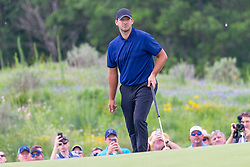May 9, 2019 - Dallas, TX, U.S. - DALLAS, TX - MAY 09: Tony Romo watches his putt on the first hole during the first round of the AT&T Byron Nelson on May 9, 2019 at Trinity Forest Golf Club in Dallas, TX. (Photo by Andrew Dieb/Icon Sportswire) (Credit Image: © Andrew Dieb/Icon SMI via ZUMA Press)