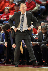 07 January 2015:  Ray Giacoletti gets a bit fired up on the sidelines during an NCAA MVC (Missouri Valley Conference) men's basketball game between the Drake Bulldogs and the Illinois State Redbirds at Redbird Arena in Normal Illinois.  Illinois State comes out victorious 81-45.