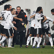 Besiktas's coach Carlos Carvalhal (C) celebrate victory during their Turkish superleague soccer match Besiktas between Gaziantepspor at BJK Inonu Stadium in Istanbul Turkey on Tuesday, 05 January 2012. Photo by TURKPIX