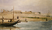Luxor'. River Nile in the  foreground and ruins of the ancient Egyptian city in the background. Watercolour by Hector Horeau (1801-1872).