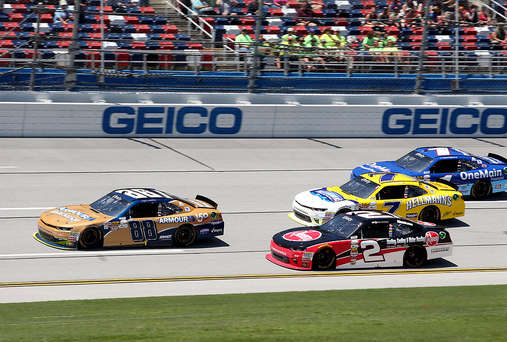 May 6, 2017; Talladega, AL, USA; NASCAR Xfinity Series driver Kasey Kahne (88) leads the field during the Sparks Energy 300 at Talladega Superspeedway. Mandatory Credit: Peter Casey-USA TODAY Sports