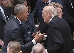 former United States President Barack Obama and former US Senator Alan Simpson (Republican of Wyoming) converse prior to the National funeral service in honor of the late former US President George H.W. Bush at the Washington National Cathedral in Washington, DC on Wednesday, December 5, 2018.<br /> Photo by Ron Sachs / CNP/ABACAPRESS.COM