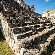 Stone steps to the Oval Palace at the ancient Mayan ruins at Ek' Balam, near Valladolid, Yucatan, Mexico