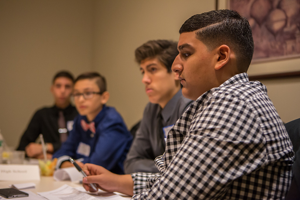 Purchase, NY – 31 October 2014. Yonkers High School student Fareed Ibrahim, right, and his team. The Business Skills Olympics was founded by the African American Men of Westchester, is sponsored and facilitated by Morgan Stanley, and is open to high school teams in Westchester County.