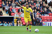 AFC Wimbledon defender Callum Kennedy (23) free kick during the EFL Sky Bet League 1 match between Charlton Athletic and AFC Wimbledon at The Valley, London, England on 28 October 2017. Photo by Matthew Redman.