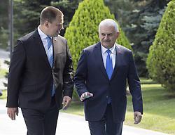 August 16, 2017 - Ankara, Türkiye - Estonian Prime Minister Juri Ratas visits Turkey. Turkey Prime Minister and Juri Ratas come together at Cankaya Palace, Ankara. (Credit Image: © Depo Photos via ZUMA Wire)