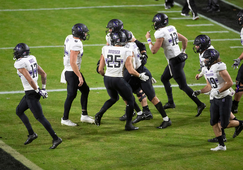 November 14, 2020:  Northwestern players celebrate touchdown during NCAA football game action between the Northwestern Wildcats and the Purdue Boilermakers at Ross-Ade Stadium in West Lafayette, Indiana. Northwestern defeated Purdue 27-20.  John Mersits/CSM.