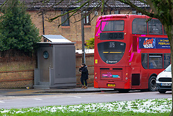 A toilet at the turn-around point of bus routes at the intersection of Manor and Chapelmount Rds in Chigwell, Essex has divided opinion among local residents, some of whom object to its presence whilst others believe it is essential for the bus drivers. Chigwell, Essex, January 24 2019.