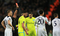 23 February 2017 - UEFA Europa League - (Round of 32) - Tottenham Hotspur v KAA Gent - Dele Alli of Tottenham Hotspur reacts as he is sent off is sent off  - Photo: Marc Atkins / Offside.