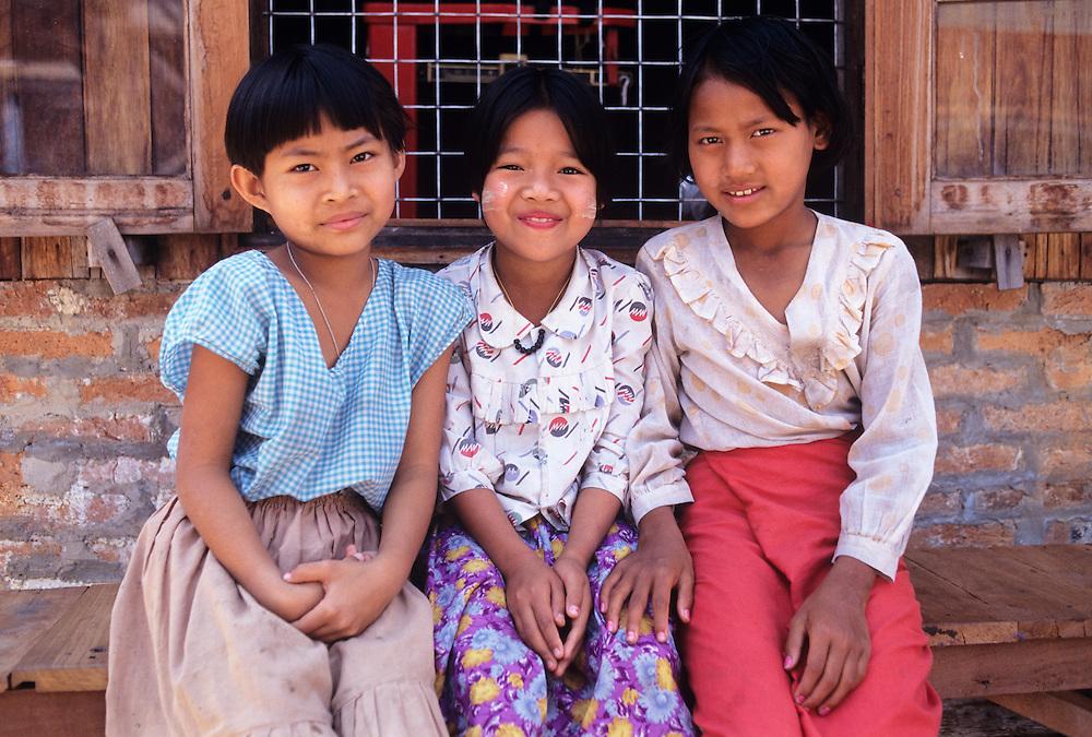 Portrait of girls, Silk factory at Inpaw Khone Village, Inle Lake, Shan State, Myanmar