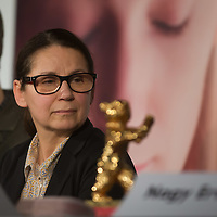 "Movie director Ildiko Enyedi of Hungary attends a press conference of her new Golden Bear winning movie ""On Body and Soul"" in Budapest, Hungary on February 21, 2017. ATTILA VOLGYI"