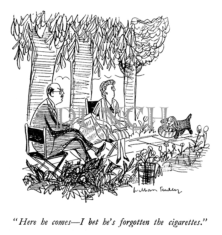 """""""Here he comes—I bet he's forgotten the cigarettes."""""""