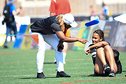 April 28, 2018 - Philadelphia, Pennsylvania, U.S - LISSA LABICHE (4) of the University of South Carolina gets schooled by her coach, DELETHEA QUARLES, during the CW high jump championship at the 124th running of the Penn Relays in Philadelphia Pennsylvania (Credit Image: © Ricky Fitchett via ZUMA Wire)