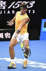 MELBOURNE, Jan. 27, 2019  Rafael Nadal of Spain hits a return during the men's singles final match between Novak Djokovic of Serbia and Rafael Nadal of Spain at 2019 Australian Open in Melbourne, Australia, Jan. 27, 2019. (Credit Image: © Lui Siu Wai/Xinhua via ZUMA Wire)