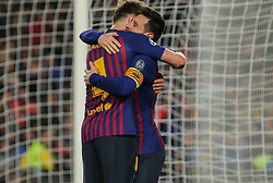 May 1, 2019 - Barcelona, Barcelona, Spain - Messi and Rakitic of Barcelona celebrating a goal during UEFA Champions League football match, between Barcelona and Liverpool, May 01th, in Camp Nou stadium in Barcelona, Spain. (Credit Image: © AFP7 via ZUMA Wire)
