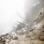 A road block. On the trek going from Laya village to the beginning of the drivable road.