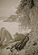 Australian, Matthew Jealous, on the beach at Jobson's Cover, Bermuda (1984)