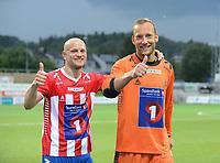 Fotball Menn 1.Divisjon  Ranheim - Tromsø<br /> DnB Nor Arena, Trondheim 4 august 2014<br /> <br /> Tromsø's keeper Benny Lekström (H) og Hans J. E. Norbye (V) jubler etter seieren over Ranheim<br /> <br /> Foto : Arve Johnsen, Digitalsport