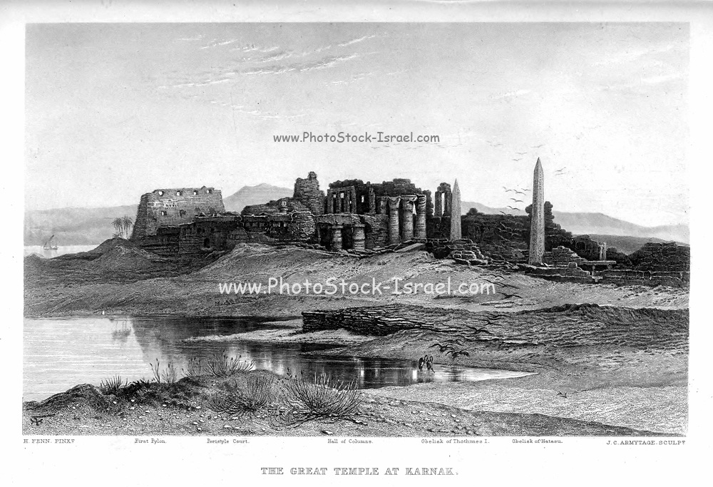 The Great Temple of Karnak [Karnak Temple Complex, Luxor, Egypt] Steel engraving of from 'Picturesque Palestine, Sinai and Egypt' by Wilson, Charles William, Sir, 1836-1905; Lane-Poole, Stanley, 1854-1931 Volume 4. Published in 1884 by J. S. Virtue and Co, London