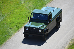 The modified Jaguar Land Rover that will carry the coffin of the Duke of Edinburgh arrives for his funeral in Windsor Castle, Berkshire. Picture date: Saturday April 17, 2021.