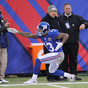 Odell Beckham Jr, New York Giants, after gaining a first down during the New York Giants V San Francisco 49ers, NFL American Football match at MetLife Stadium, East Rutherford, NJ, USA. 16th November 2014. Photo Tim Clayton