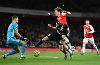 Football - 2019 / 2020 Premier League - Arsenal vs. Brighton & Hove Albion<br /> <br /> Brighton & Hove Albion's Aaron Connolly holds off the challenge from Arsenal's David Luiz, at The Emirates.<br /> <br /> COLORSPORT/ASHLEY WESTERN